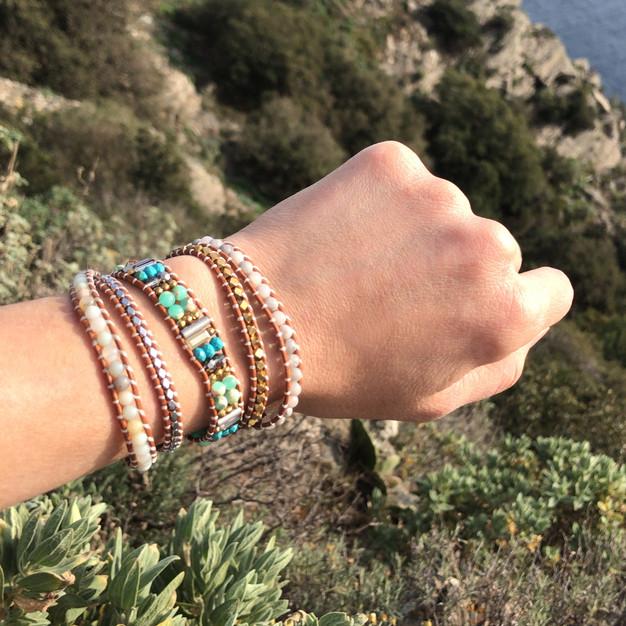 Bracelets Wrap Vintage South beach en pierres naturelles