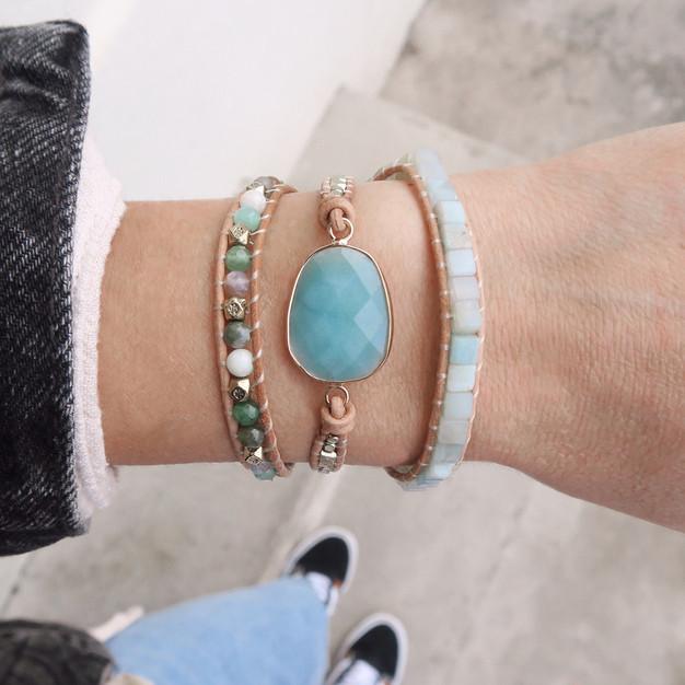 Bracelets Wrap Vintage Aqua en pierres naturelles