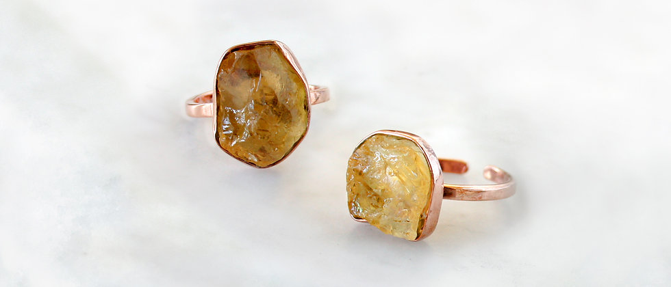 BAGUE CITRINE - OR ROSE