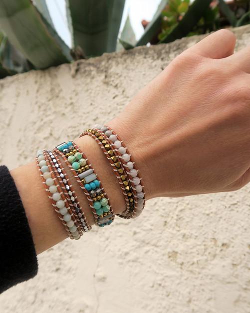 Bracelet South Beach Wrap Vintage en cuir et pierres naturelles turquoise agates bijou fait main