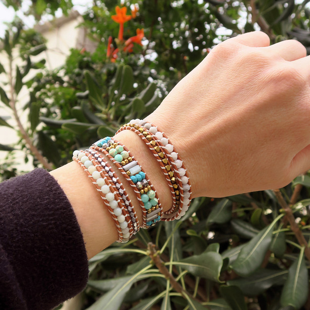 Bracelet South beach bijou Wrap Vintage en pierre turquoise amazonite
