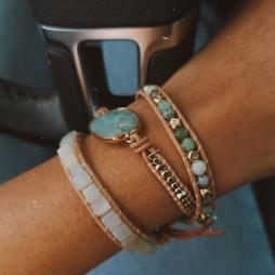 Aqua bracelet Wrap Vintage pierres semi precieuses naturelles bijou