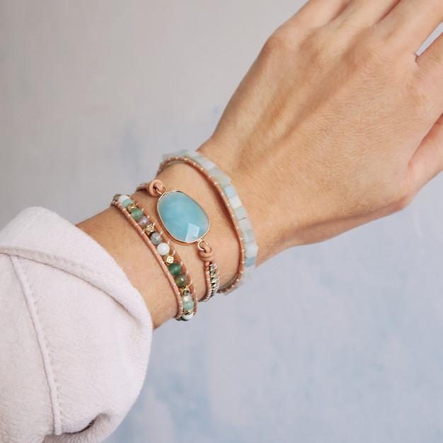 Bracelet Wrap Vintage en pierres naturelles