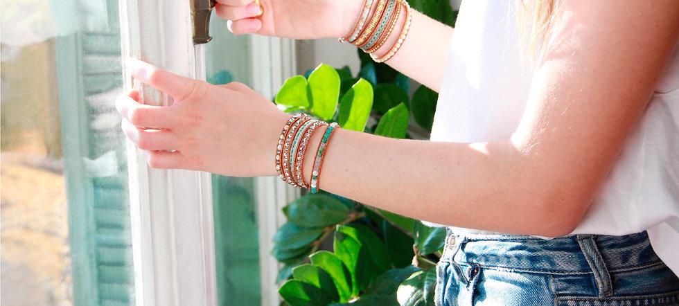 Bracelets Wrap Vintage en pierres naturelles semi-precieuses pierres fines bijoux createur fait en france made in france lithotherapie