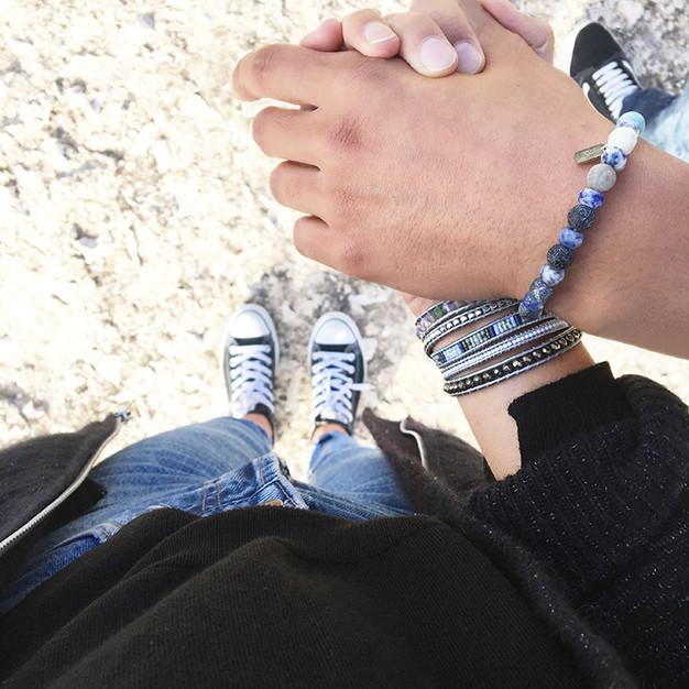 Bracelets Wrap Vintage Ocean pour homme en pierres naturelles