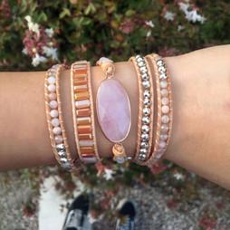Bijou Wrap Vintage 5 tours en pierres naturelles en quartz rose