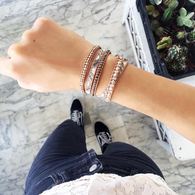 Bracelets Wrap Vintage Faye en pierres naturelles