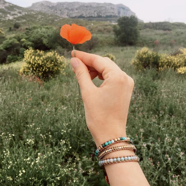 Bracelets Wrap Vintage Forest femme en pierres naturelles