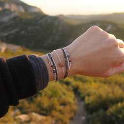 Bracelet Wrap Vegan Wrap Vintage Modele Aparena en pierres naturelle en agate feu