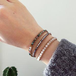 Bracelet Wrap Vintage Vancouver en agates indiennes quartz blanc Bijou de lithotherapie
