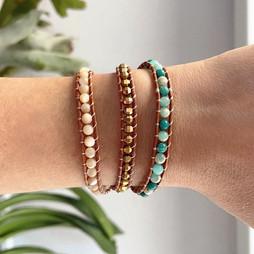 Bracelet wrap vintage en pierres naturelles jaspe et cuir
