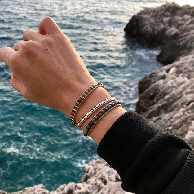 Bracelet Efera bijou Wrap Vintage en pierre turquoise amazonite