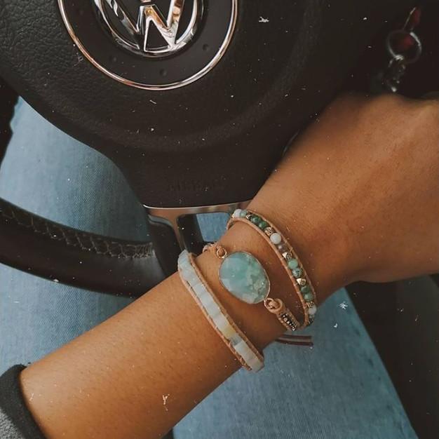 Bracelet Aqua Wrap Vintage pierres naturelles