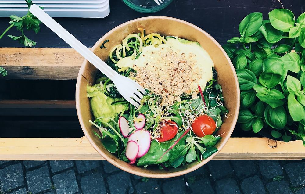 Vegan pasta with avocado