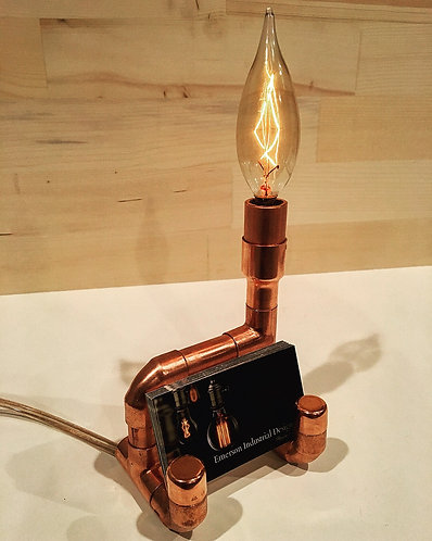 Copper Pipe Business Card Holder & Accent Lamp
