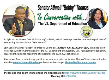 """July 23, 2020, 6pm """"In Conversation with"""" the V.I. Department of Education Commissioner"""
