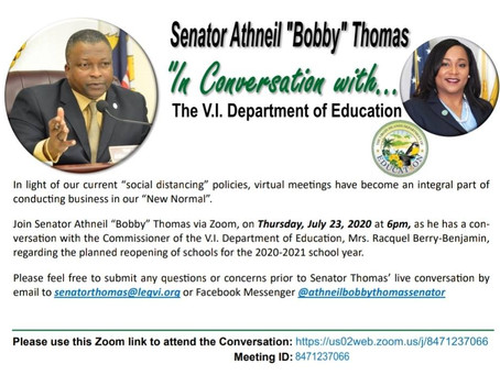 "July 23, 2020, 6pm ""In Conversation with"" the V.I. Department of Education Commissioner"