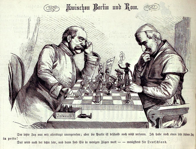 """Bismarck and the pope are shown playing a game of chess, which Bismarck is about to win. The pope holds a piece marked """"Encyclical""""—referring to his 1875 encyclical against the Kulturkampf."""