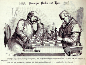 "Bismarck and the pope are shown playing a game of chess, which Bismarck is about to win. The pope holds a piece marked ""Encyclical""—referring to his 1875 encyclical against the Kulturkampf."