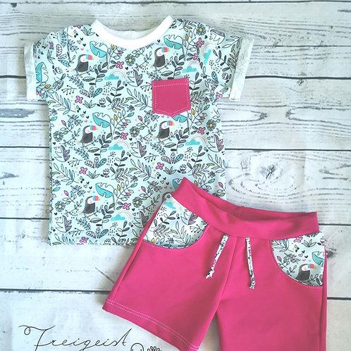 Set kurze Hose und Shirt Tukan mint/pink - Gr.86