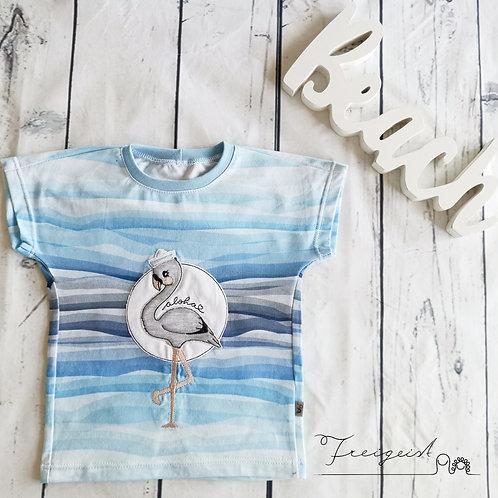T-Shirt Flamingo blau - Gr.86