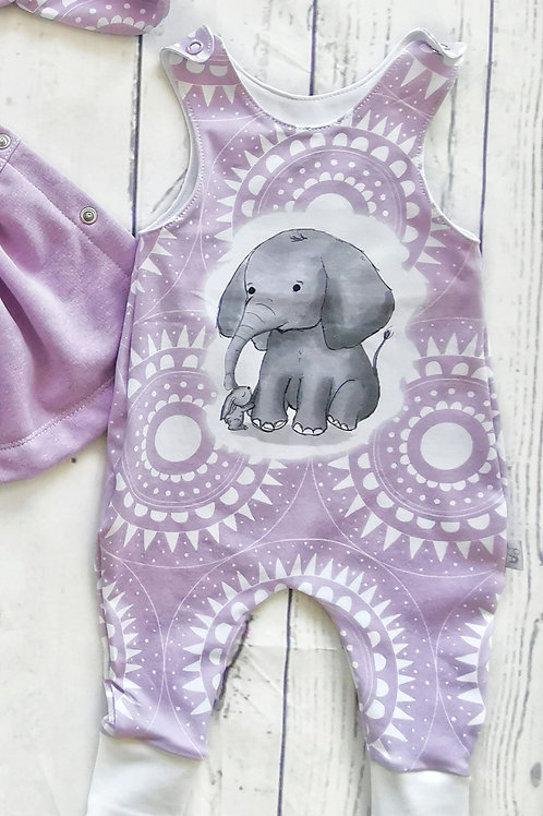 Strampler  Elefant flieder - Gr.62