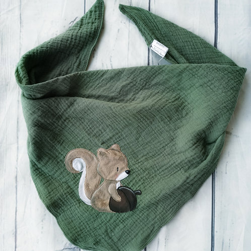Musselin-Knotenhalstuch Eichhörnchen grün