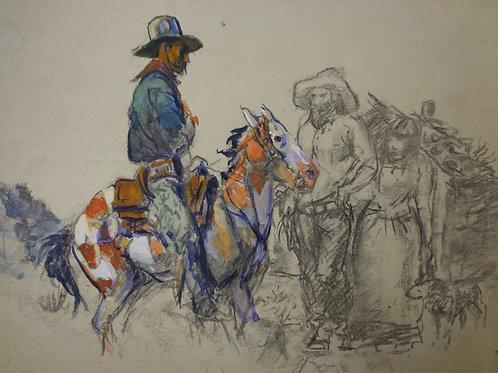 Original Harry Baker gouache & pencil sketch