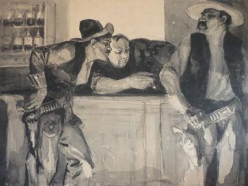 original Harry Baker western pulp art