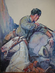 original Harry Baker western pulp art  t