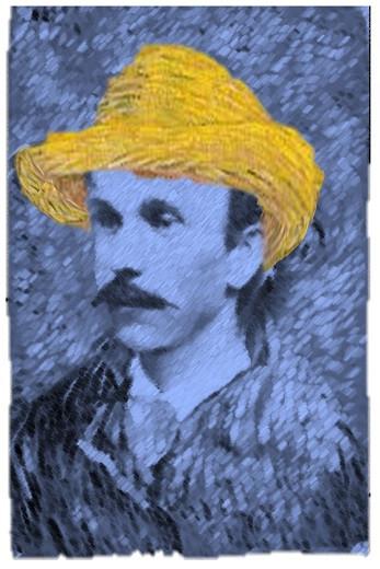 Vincent van Gogh style portrait of decoy maker Harvey A. Stevens