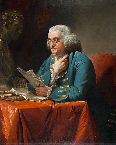 David Martin Portrait Benjamin Franklin wig