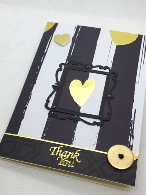 Black and gold hearts Thank You card