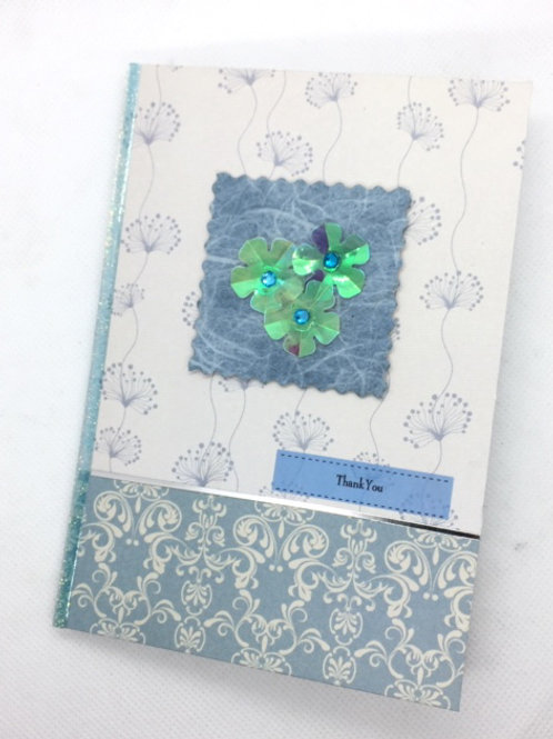 Blue paisley Thank You card