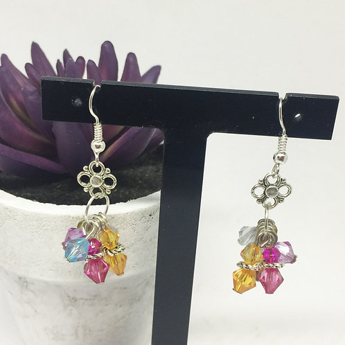 Multi coloured crystals drop earrings
