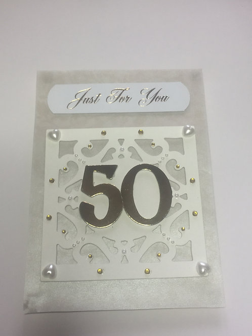 White and Gold 50th 'Just for You' card
