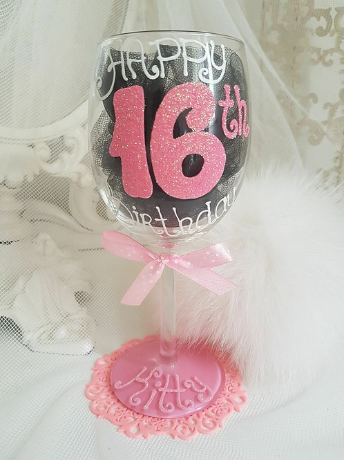 Bespoke Hand Painted Birthday Wine Glass
