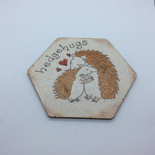 'Hedgehugs' wooden hand painted coaster