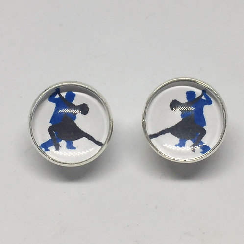 Dance Couple Blue silhouette cufflinks