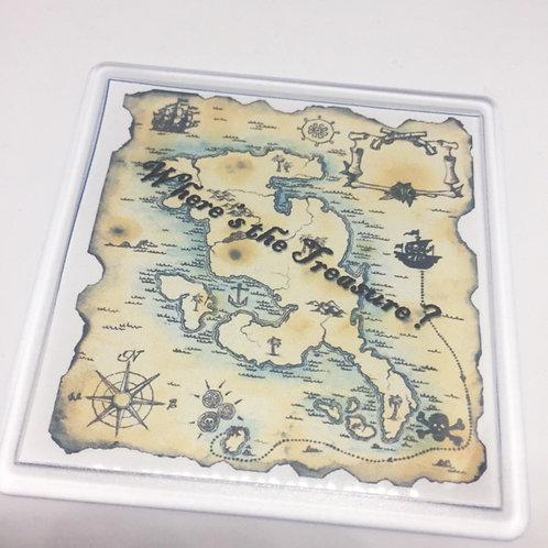 Pirate Treasure Map Coaster
