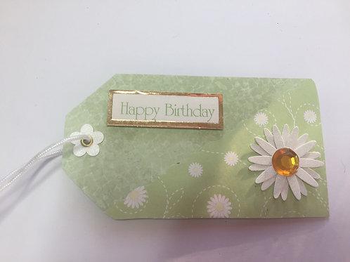Green Daisy Happy Birthday Gift tag