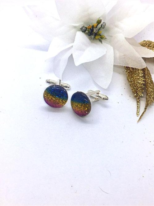 Druzy cabochon rainbow cufflinks
