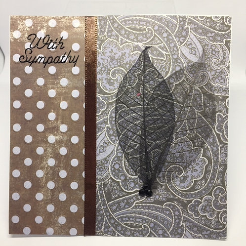 Brown & Black With Sympathy Square card