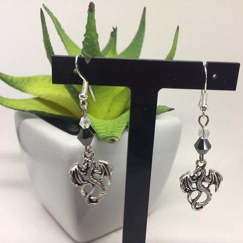 Dragon and black crystal drop earrings