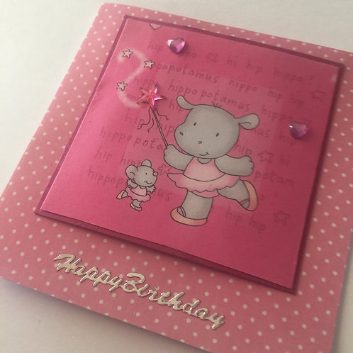 Pink Hippo Princess Happy Birthday Small Square Card