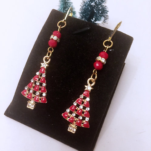 Christmas Red and diamonte enamel tree earrings