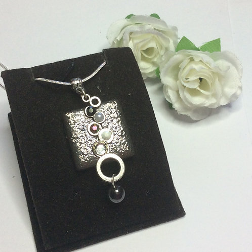 Black and white square and droplets necklace