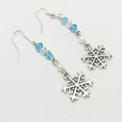 King & I Snowflake Long Drop earrings