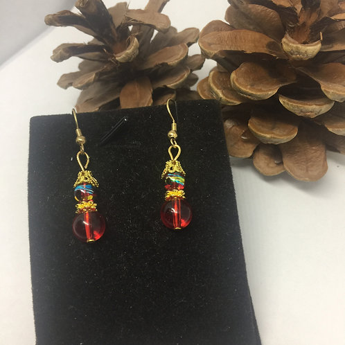 Red & gold double beads and drop earrings
