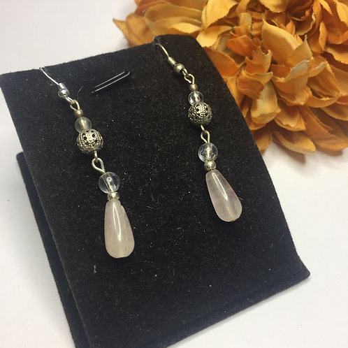 Pale pink long drop earrings